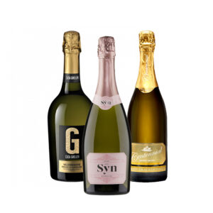 A gift trio of Casa Gheller Prosecco, Syn Sparkling Rose, and Centennial Vineyards Methode Traditionelle