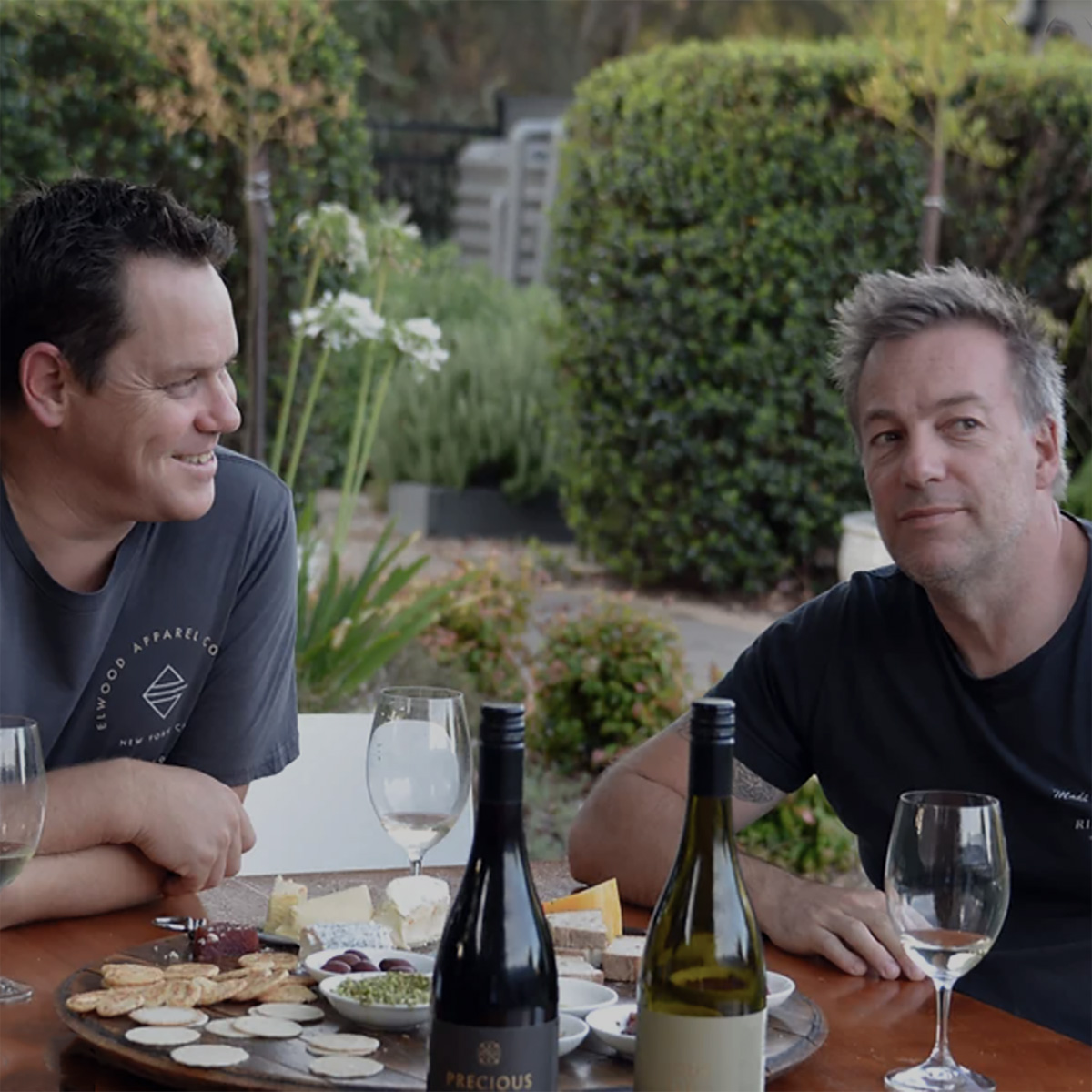 Precious Little Winemakers Adam Smith and Marty O'Flaherty having wines over lunch