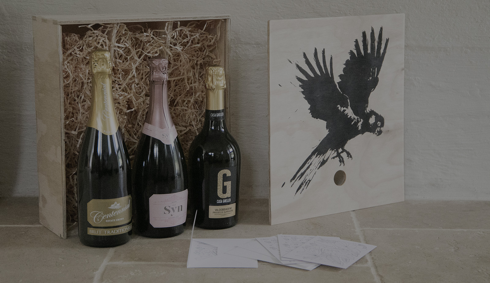Bird and Barrel Wooden Wine Box with Sparkling Wine Trio